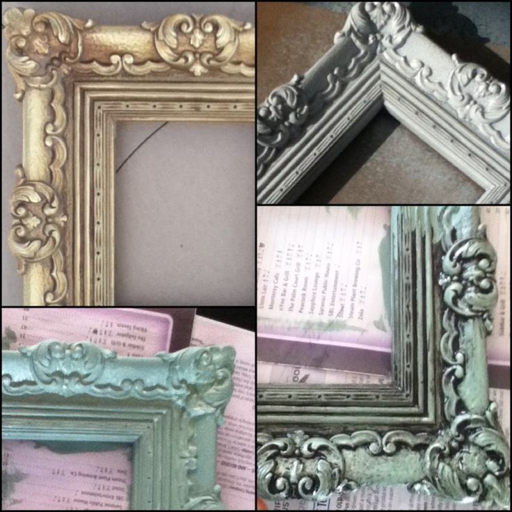 frame makeover: old, gold plastic frame; spray paint white with spray paint made for plastics; paint with acrylic craft paint; then once dried, use valspar antiquing glaze and wipe off until desired look