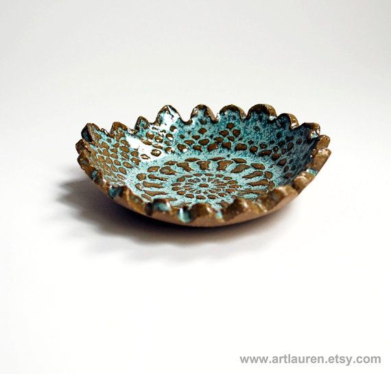 Aqua and Brown Lace Bowl, Ceramic, Pottery, Ring Dish, Handmade, Bridesmaid Gift, Wedding or Shower Favor, Jewelry Dish, Spoon Rest