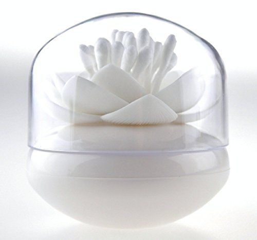 Bloss Cotton Swab Organizer Lotus Shape Cotton Swab Holder Small Q-tips Toothpicks Storage Organizer, White. Keeps q-tips handy and clean. Easy to clean with soap and water. Cute in your bathroom cabinet or on the counter. Break-resistant. Small but can hold up to 35 q-tips.