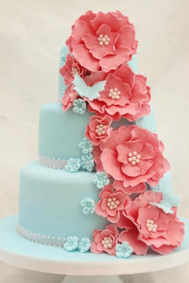 Coral &amp Turquoise Cake  Dream Wedding cakepins.com