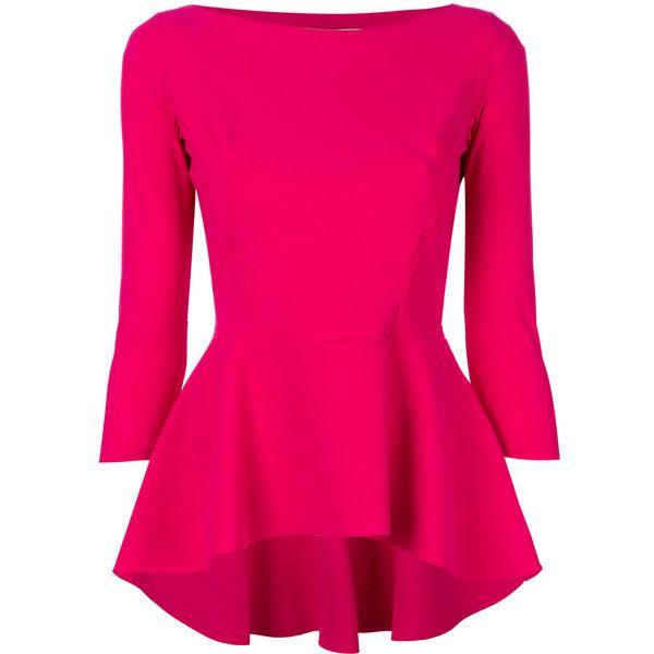 Chiara Boni La Petite Robe peplum blouse ($433) ❤ liked on Polyvore featuring tops, blouses, pink top, peplum blouse, lycra top, peplum tops and pink blouse