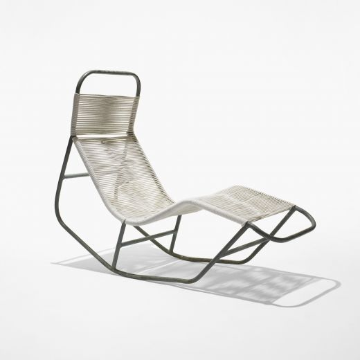 Rocking Chaise (USA), Ca.1946 In White . Minimal Design| Long