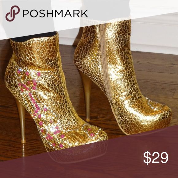 Gold Boots Gold Boots with purple accents anyone? Get these new without tags, shop brass candy! Don't be into trends. Don't make fashion own you. -G. Versace Shoes Ankle Boots & Booties