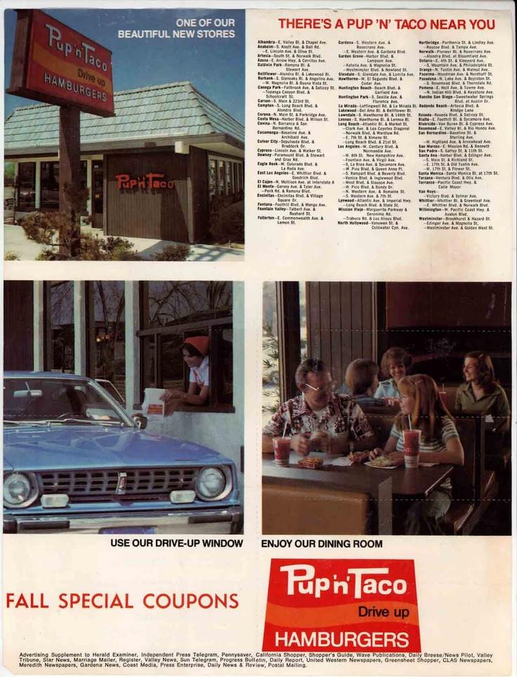 taco pup food menu fast ad tacos 70s restaurant ads historic locations advertisements aesthetic restaurants westside retro pups recipes monica