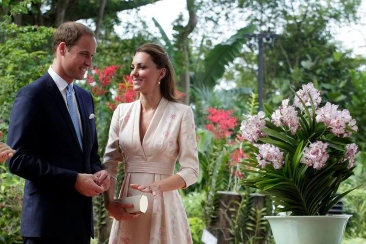 Duke & Duchess of Cambridge in Singapore after just having had a orchid named after them - the Vanda William Catherine