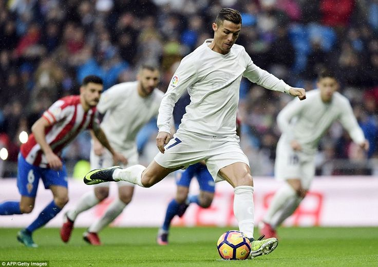 Cristiano Ronaldo opened the scoring just minutes into the game against struggling Sporting Gijon with a penalty kick