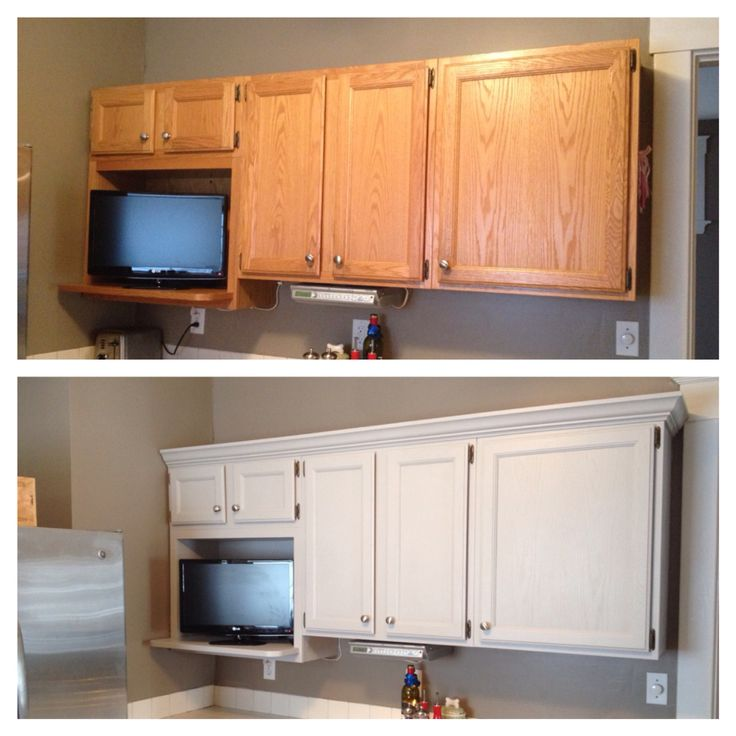 Added Crown Molding And Painted Cabinets Winter Fog With
