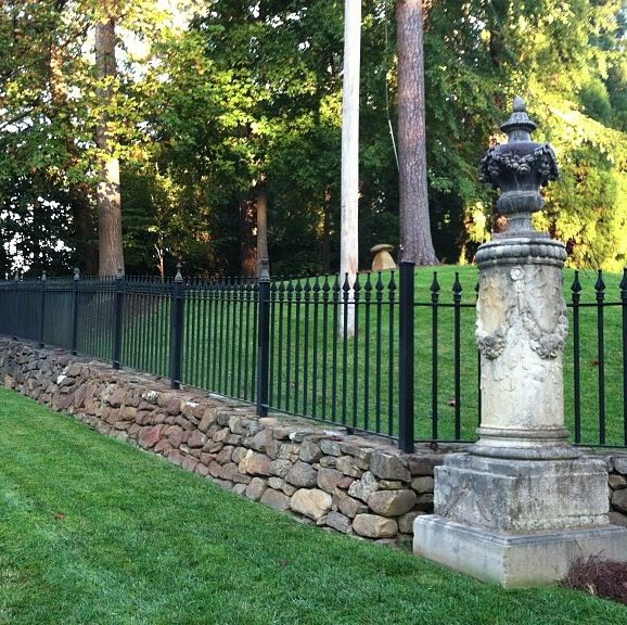 Iron And Stone Fence My House Ideas Concrete Fence Wooden Fence