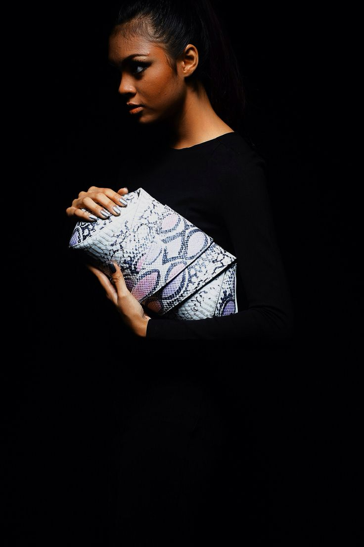 White and Violet Python Leather Clutch