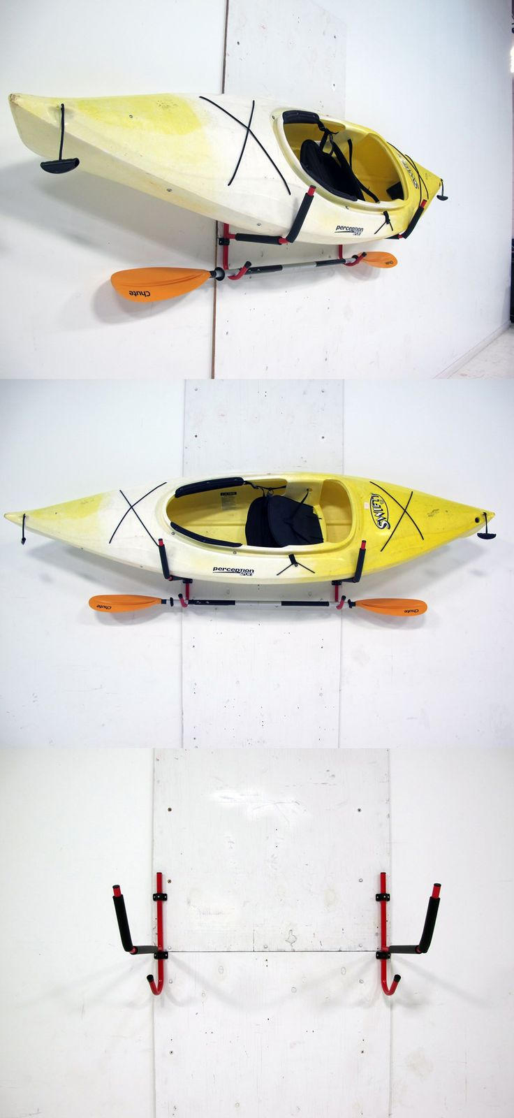 Folding kayak storage wall hooks that keep your kayaks secure when you're not on the water! Store them away in the garage, basement or any wall for that matter.