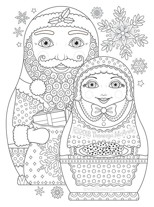Santa And Mrs Claus Nesting Dolls Coloring Page From
