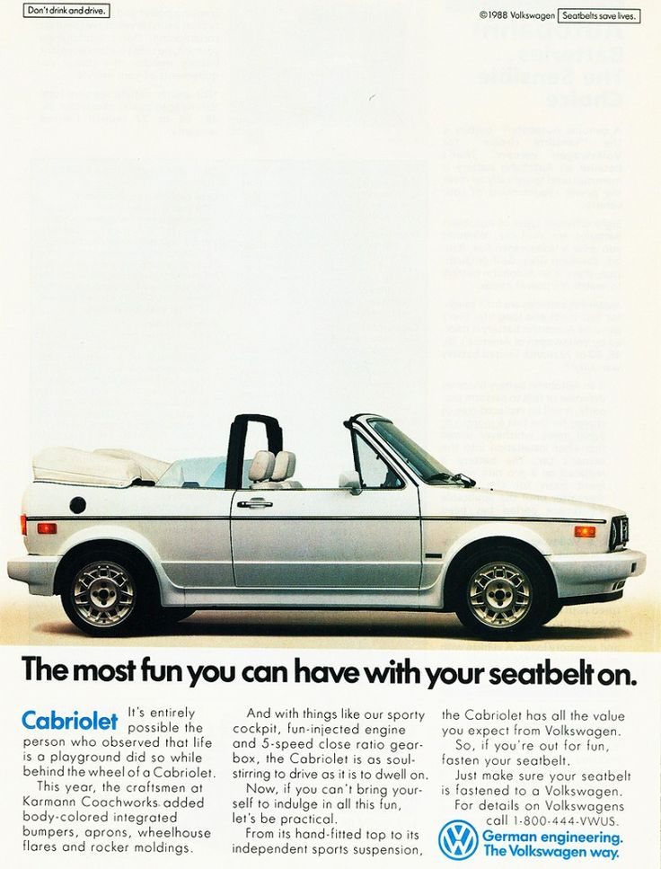 1989 Volkswagen Cabriolet advertisement This is just like my 1st car! Oh how I wish I still had her!!!