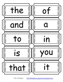 Have your students practice their sight words by using tickets!This download includes tickets with one of the 1st 100 Fry Sight Words written on ...