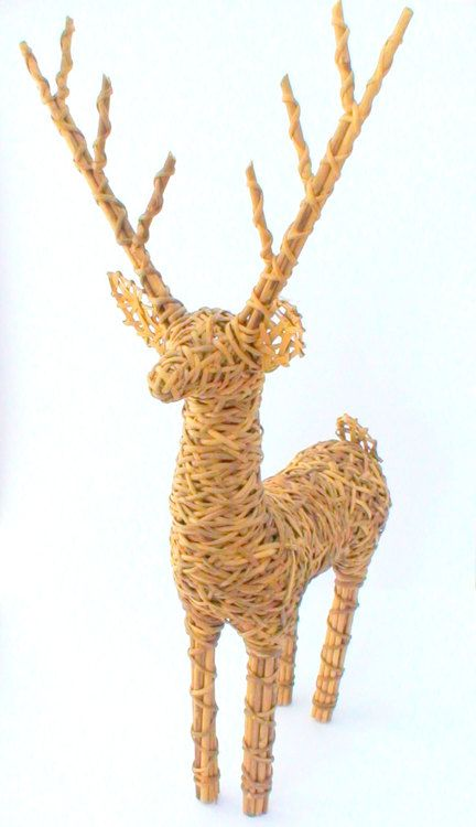 Woodland Deer Sculpture - Vintage Natural Wicker Cottage Chic - BlackberryMarket