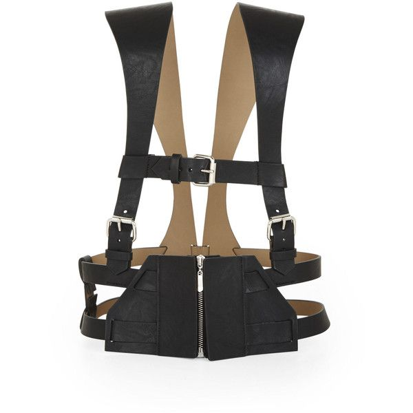 BCBGMAXAZRIA Strappy Vest Harness ($166) ❤ liked on Polyvore featuring vests, accessories, harness, bcbg, belts and black