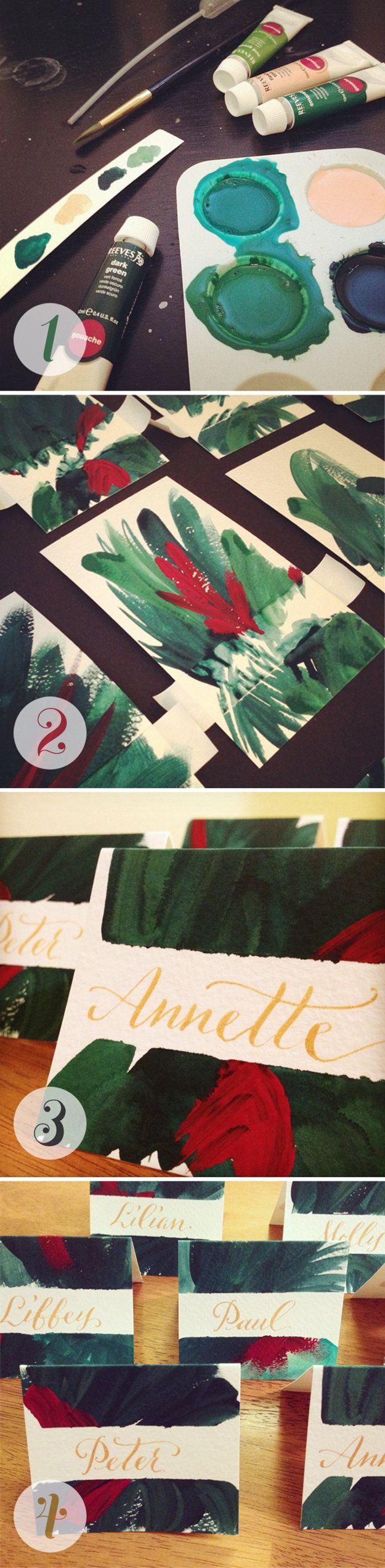 Christmas Cards! Hand-painted Christmas Card Inspiration | http://diyready.com/22-handmade-calligraphy-christmas-cards-diy-christmas-cards/