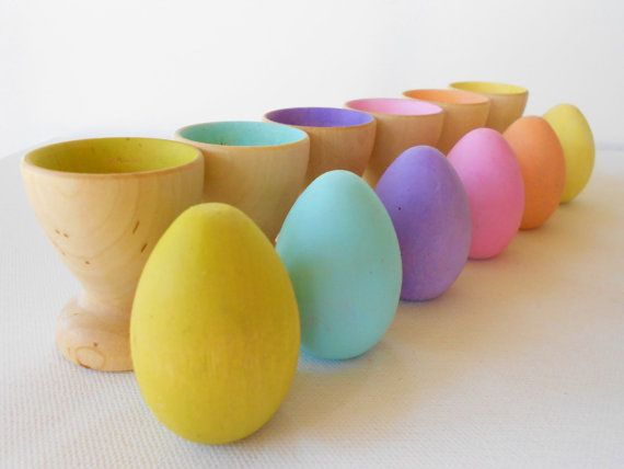 Wood play eggs and cups montessori color matching game