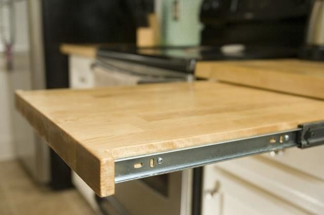 Countertop Hacking: 5 Ways to Increase Your Workspace in a Tiny Kitchen // Pull Out Cutting Board