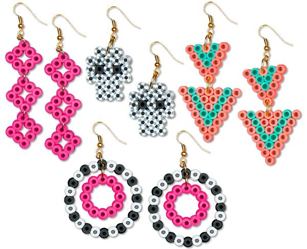 Make these fun and easy earrings with Perler beads to wear with all your outfits. Design your own earrings by simply changing the colors and shapes.