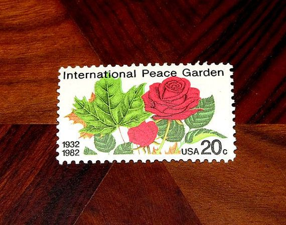 Vintage MINT 20 cent postage stamps  International Peace Garden stamp set of 50 sold by TreasureFox, $24.50