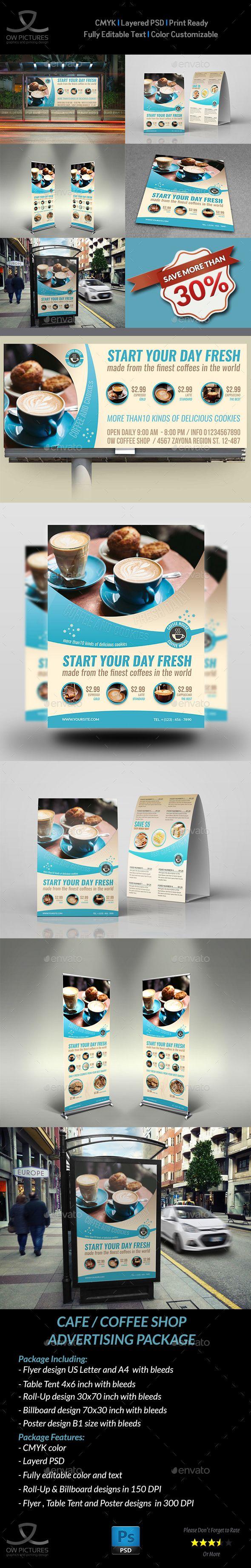 3 color poster designs - Cafe Advertising Bundle Vol 3 Poster Designsdesign