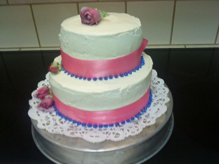 Homemade NO FONDANT wedding cake, because cakes should always taste YUMMY!