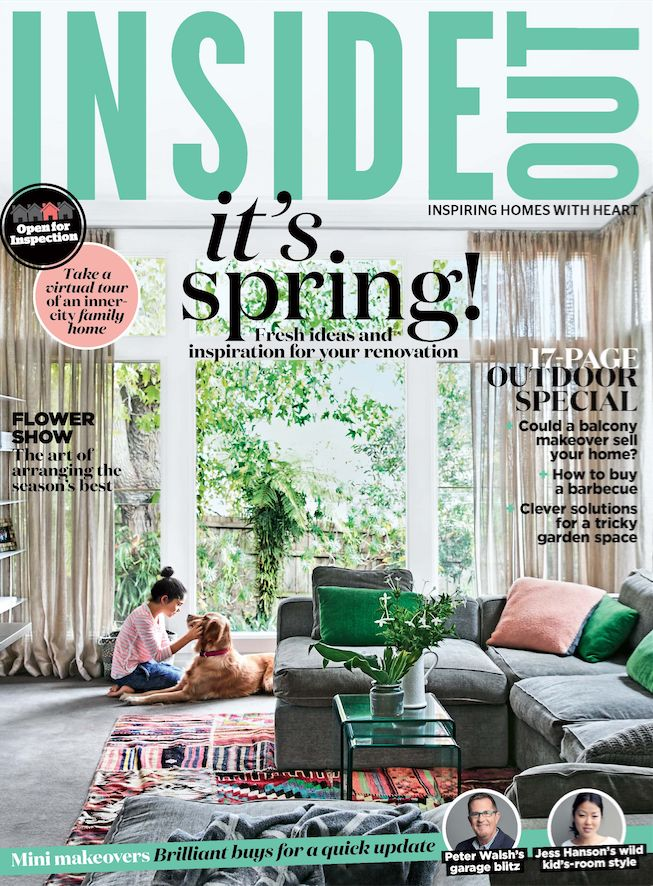 The cover of the September 2016 issue of Inside Out magazine. Styling by Heather Nette King. Photography by Derek Swalwell. Available from newsagents, Zinio, https://au.zinio.com/magazine/Inside-Out-/pr-500646627/cat-cat1680012#/, Google Play, https://play.google.com/store/newsstand/details/Inside_Out?id=CAowu8qZAQ, Apple's Newsstand,https://play.google.com/store/newsstand/details/Inside_Out?id=CAowu8qZAQ, and Nook.