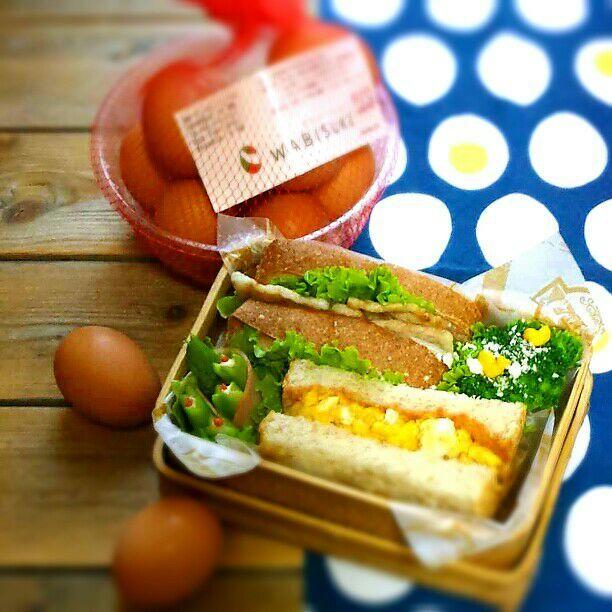 旦那さんの久しぶり朝ごパン弁当♪  オムレツ&ケチャップマスタード  近江ポークグリルのサンドイッチ  ブロッコリー  アスパラハム巻き  おはようございます\(^o^)/ 美山のおみやげ平飼い地鶏のたまご、とっても美味しいです♥ - 75件のもぐもぐ - 旦那さんの朝ごパン弁当♪ by kyuja