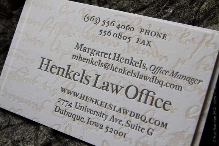 64 best letterpress business cards images on pinterest embossed henkels law letterpress business cards on crane lettra 110 stock by slowprint slowprint reheart Gallery