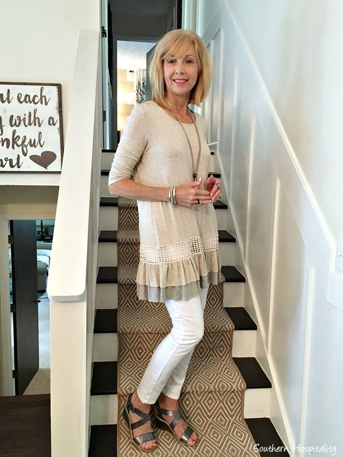 Fashion over 50, tunic top from Glamour Farms Boutique.