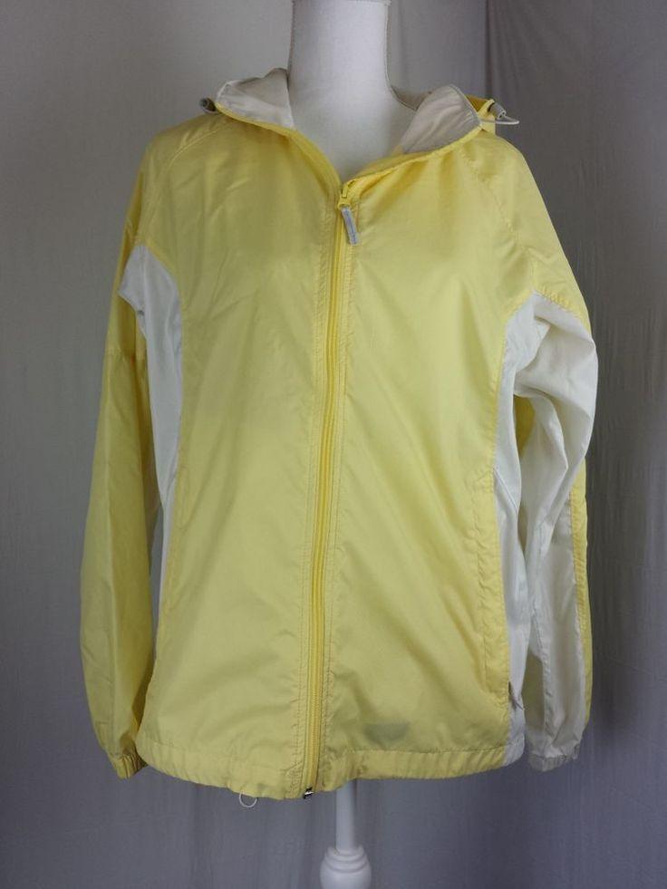 Columbia Womens Windbreaker Jacket Coat Yellow Packable Lightweight Sz L  #Columbia #Windbreaker #Outdoor