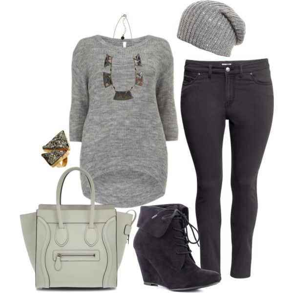 Neutral Winter - Plus Size by alexawebb, via Polyvore