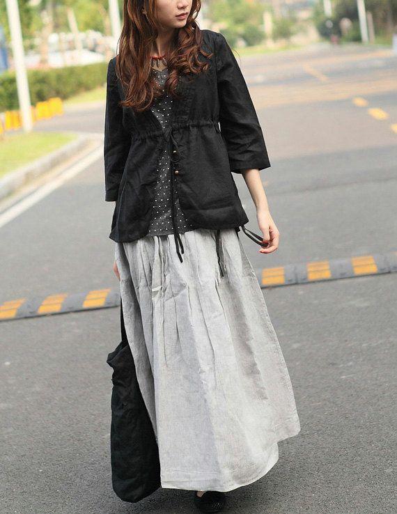 Long Linen Skirt in Grey Ruffle Maxi Skirt Dress by camelliatune