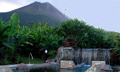 Baldi Hot Springs at the foot of Arenal volcano in Costa Rica