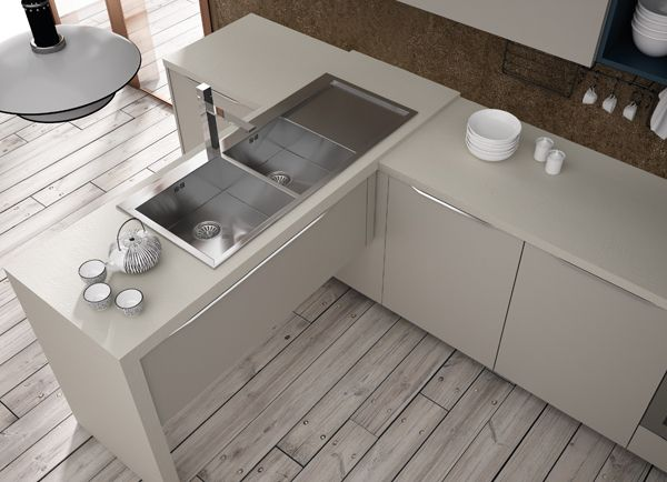 Valencia. Open Collection. Colour touches for creative geometry. Design by R&D Center. #kitchen #design #details #sink