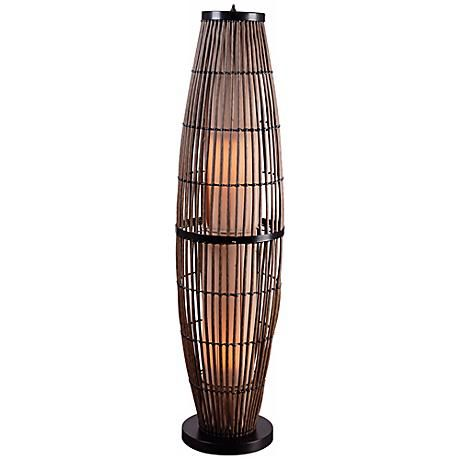 Kenroy Home Biscayne Portable Outdoor Rattan Floor Lamp