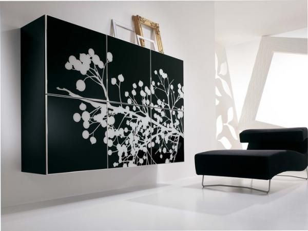 Duebi Contemporary Wall Cabinet With Black Printed Glass Doors Other Colour Options