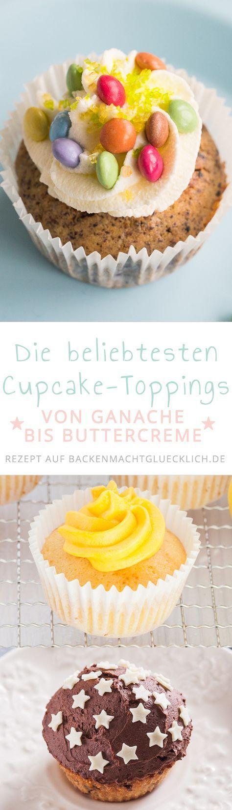 Sammlung mit Rezepten für die beliebtesten Cupcake-Frostings und Cupcake-Toppings: Buttercreme, Frischkäse-Buttercreme, Schokoladenganache, Meringueglasur sowie Frischkäsecreme mit weißer Schokolade.