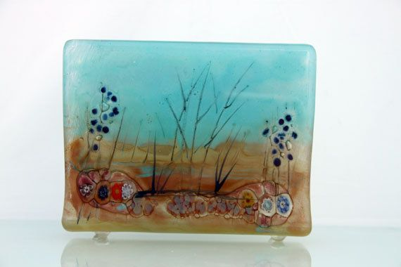 Fused Glass napkin holder  landscape series by virtulyglass, $40.00