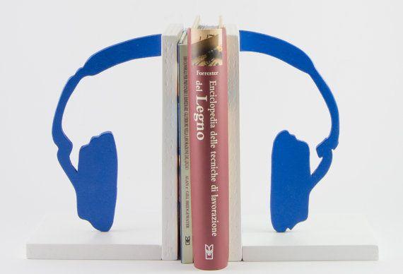 Fermalibri in legno Cuffie Blu - Wood Bookends Headphones Blue