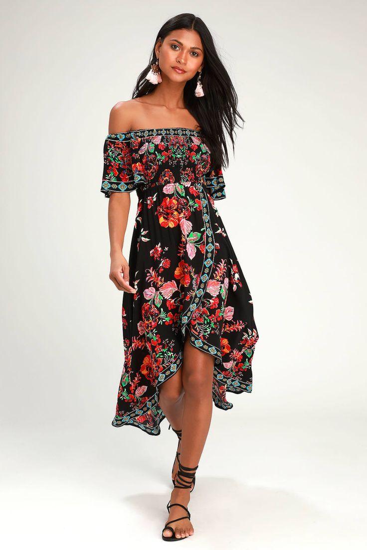 Danica black floral print smocked highlow maxi dress in