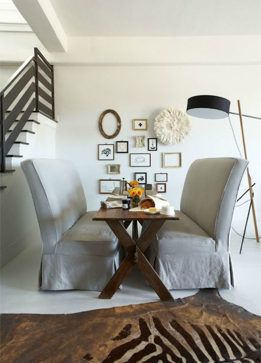 Jean Allsopp Photography Eclectic Dining Room With Metallic Zebra Cowhide Rug X Table