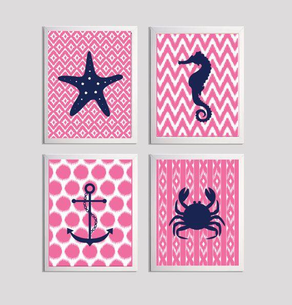 Beach Nursery Ikat Girl Boy Baby Buble Gum Pink Navy  Art Ocean Nautical set of 4 on Etsy, $48.00