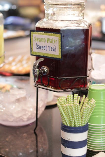 "{Artistic Anya Designs} ""Swamp Water"" Sweet Tea - Alligator Themed Baby Shower                                                                                                                                                     More"