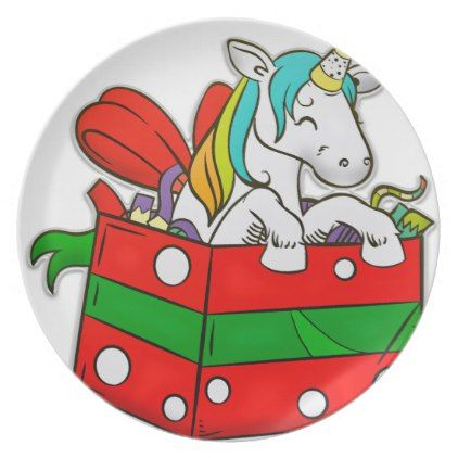 Christmas Unicorn in gift box Dinner Plate - gift for her idea diy special unique