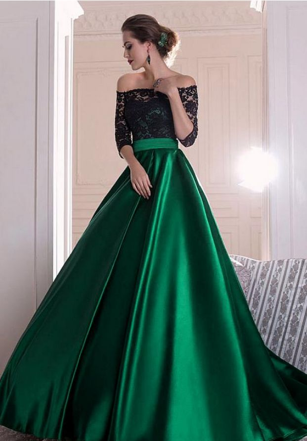 Black and Green Prom Dress,Formal Dress Long,Lace Formal