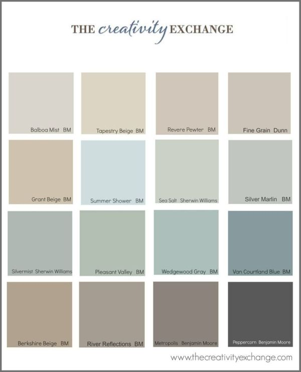 Little French Farmhouse - popular paint colors. All blend well with Annie  Sloan chalk paint