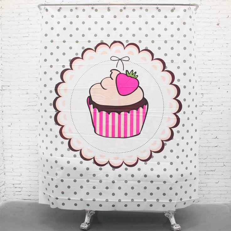 Eva занавески для душа водонепроницаемый утолщение душ занавес душ занавес раздел ткань розовые занавески для душа клубничный торт