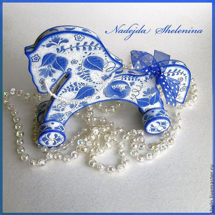 Купить Лошадка синяя деревянная под Гжель - игрушка, народная игрушка, гжель, синий цвет