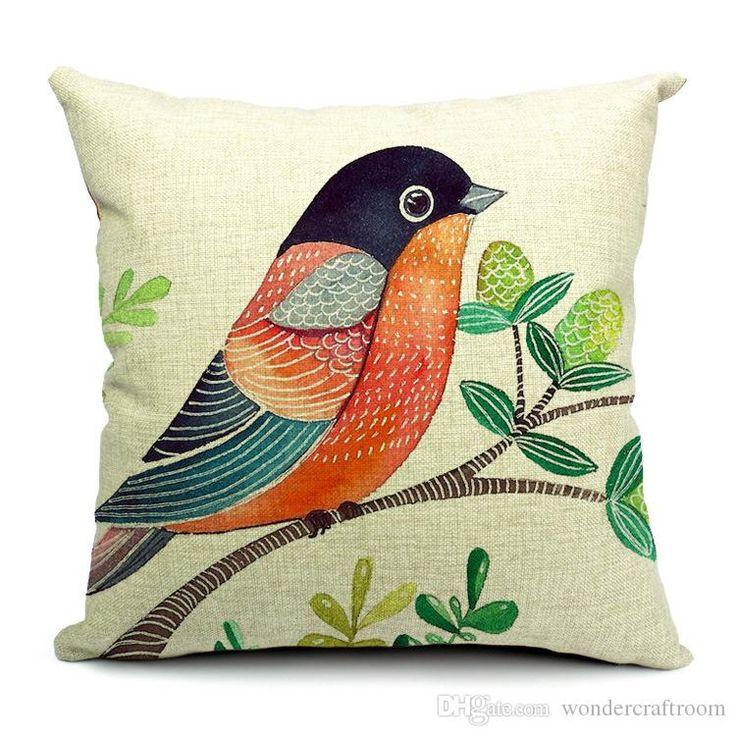 5 Estilos Pintura a mano Pájaros Cojines Fundas Almohada Bird Tree Cojín Funda Sofá Sofá Lanza Lino Decorativo Funda de Almohada de Algodón Presente